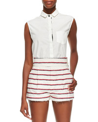 Band Of Outsiders White Sleeveless Shirt With Collar