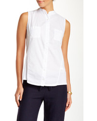Three Dots Woven Front Sleeveless Blouse