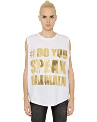 Balmain Oversized Jersey Sleeveless Top