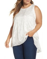 Plus size sheer clipped dot sleeveless top medium 4952859