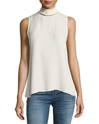 Theory Slit Collar Sleeveless Georgette Top