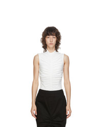 Edit White Sleeveless Ruch Front T Shirt