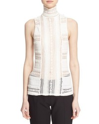 Cinq A Sept Antonia Sleeveless Lace Turtleneck