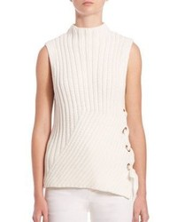 Derek Lam 10 Crosby Grommet Detail Sleeveless Rib Knit Sweater