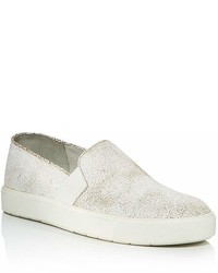 Vince Blair Crackled Leather Slip On Sneakers