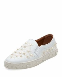 Aquazzura Cosmic Pearlescent Slip On Skate Sneakers White
