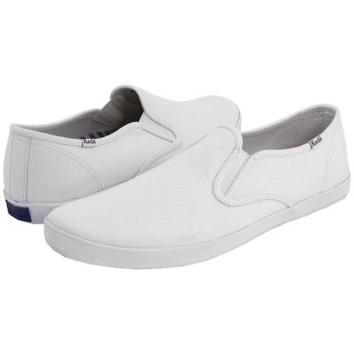 white canvas slip on keds