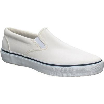 sperry top sider striper slip on white canvas shoes