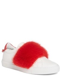 Givenchy Urban Street Slip On Sneaker With Genuine Mink Fur Trim