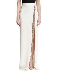 Beaded front slit maxi skirt white medium 3651722