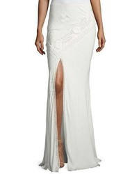 Haute Hippie Lux Crocheted Front Slit Maxi Skirt White