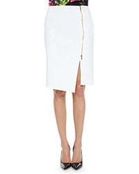 Escada Asymmetric Zip Slit Pencil Skirt White