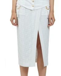 Balmain Midi Check Pencil Skirt
