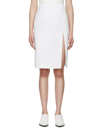 Christopher Kane White Denim Slit Skirt