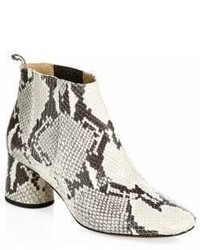 White Snake Leather Ankle Boots