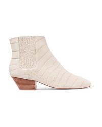 Nanushka Salsa Croc Effect Vegan Leather Ankle Boots