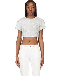 Proenza Schouler Grey Leather Paneled Python Crop  Top