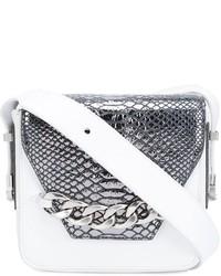 White Snake Leather Crossbody Bag