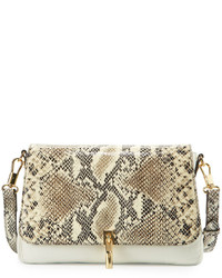 Elizabeth and James Cynnie Mini Snake Print Leather Crossbody Bag Ivory