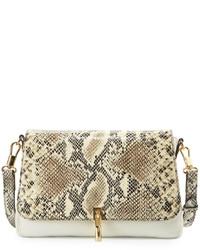 Elizabeth and James Cynnie Mini Snake Print Leather Crossbody Bag Ivory