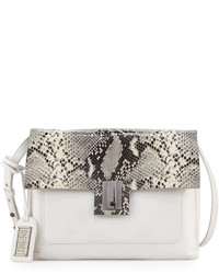 Badgley Mischka Janine Snake Embossed Leather Crossbody Bag White