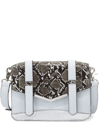 French Connection Remy Snake Embossed Crossbody Bag Salt Waterblackwhite