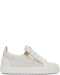 Giuseppe Zanotti White Python Embossed London Sneakers