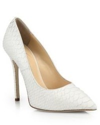 Snakeskin embossed leather point toe pumps medium 522593