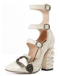 Triple strap snake heel pump mystic white medium 949692