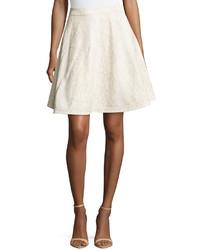 Diane von Furstenberg Luanne Snake Print Leather Skirt Ivory