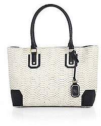 White Snake Leather Tote Bag