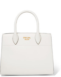 Prada Bibliothque Watersnake Paneled Leather Tote White
