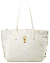 Ondine snake embossed leather tote bag white medium 636114