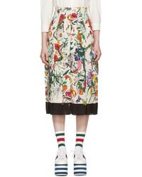 Gucci Ivory Flora Snake Skirt