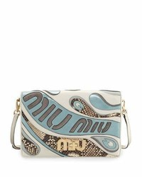 Miu Miu Mixed Leatherpython Clutch Bag