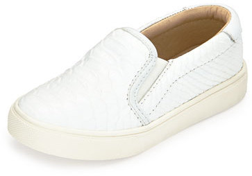 Akid Childrens Shoes Akid Liv Snake Embossed Leather Slip On Sneaker White Youth