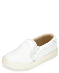 Akid Liv Snake Embossed Leather Slip On Sneaker White Youth