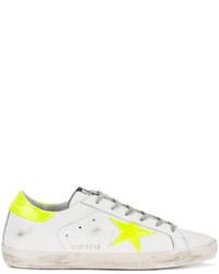 Golden Goose Deluxe Brand White Neon Yellow Superstar Sneakers
