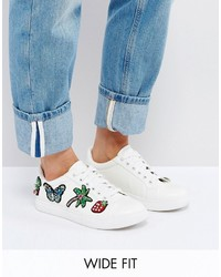 Asos Diamond Wide Fit Patched Sneaker