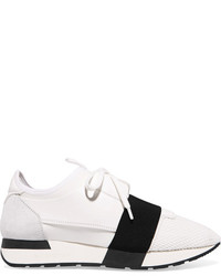 Balenciaga Race Runner Leather Mesh And Neoprene Sneakers White