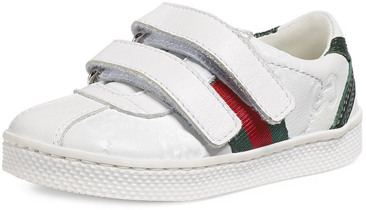 Gucci Ssima Leather Grip Strap Sneaker White Toddler