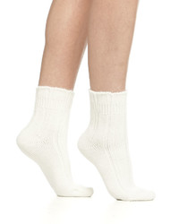 Falke Cashmere Blend Cozy Ruffled Bedsocks Off White