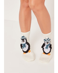 Missguided Penguin Gift Socks White