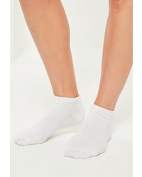 Missguided White 3 Pack Basic Trainer Socks