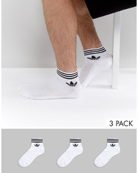 adidas Originals 3 Pack Ankle Socks In White Az6288
