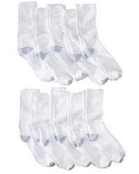 Hanes Premium Premium Extended Sized 10pk Crew Socks White