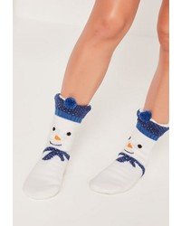 Missguided Snowman Slipper Socks White