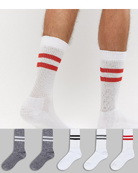 ASOS DESIGN Sports Socks In Grey Twists 5 Pack