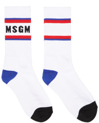 MSGM White Colorblock Logo Socks