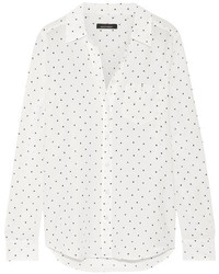 Kate moss for equipt brett printed washed silk shirt white medium 3831051